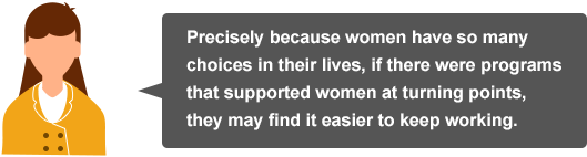 Precisely because women have so many choices in their lives, if there were programs that supported women at turning points, they may find it easier to keep working.